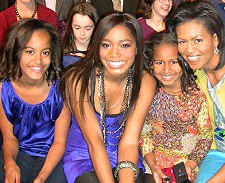 Keke Palmer with the Obama women (L to R:  Malia, Sacha and Michelle) at the Kids' Inaugural event on January 19, 2009 in Washington, D.C.